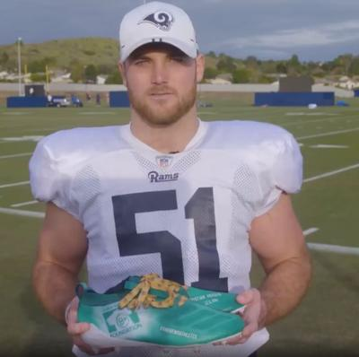 """Troy Reeder shows off his B+ Foundation Cleats for the 2019 """"My Cause, My Cleats"""" weekend in the NFL"""