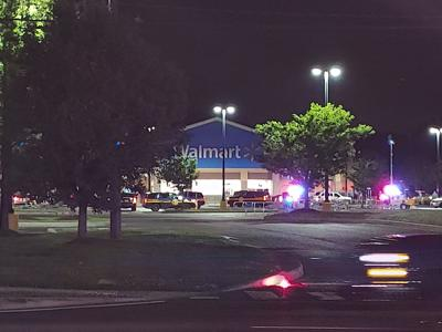 The Centerville Walmart surrounded by police cars on June 2, 2020