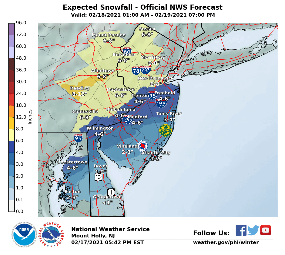 National Weather Service snow forecast issued February 17, 2021