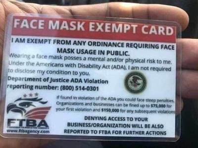 """Face Mask """"Exemption"""" Card"""