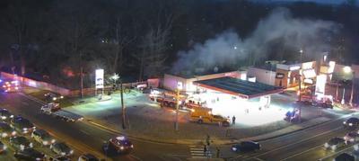 Harmony Road Exxon's Tiger Mart showing smoke on January 22, 2020