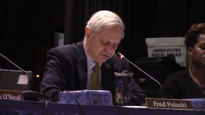 Fred Polaski speaks during a February 11, 2020 Christina School Board meeting