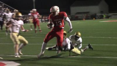 Smyrna WR Makhi Jackson scores a touchdown against Salesianum