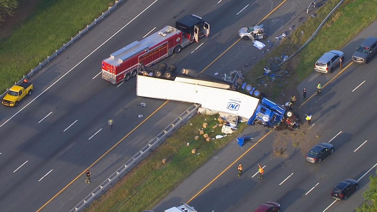 An overturned tractor trailer shut down I-95 in both directions between the Delaware Service Plaza and Rt. 896 on Tuesday, September 24, 2019