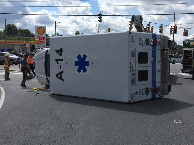 VIDEO   Cranston Heights ambulance overturns near Marshallton   WDEL