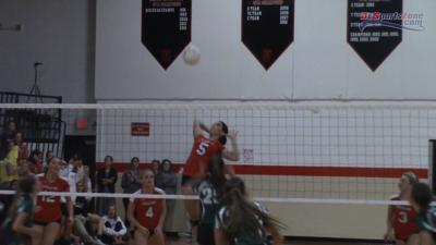 Ursuline's Kylie Nocket kills a point against Archmere