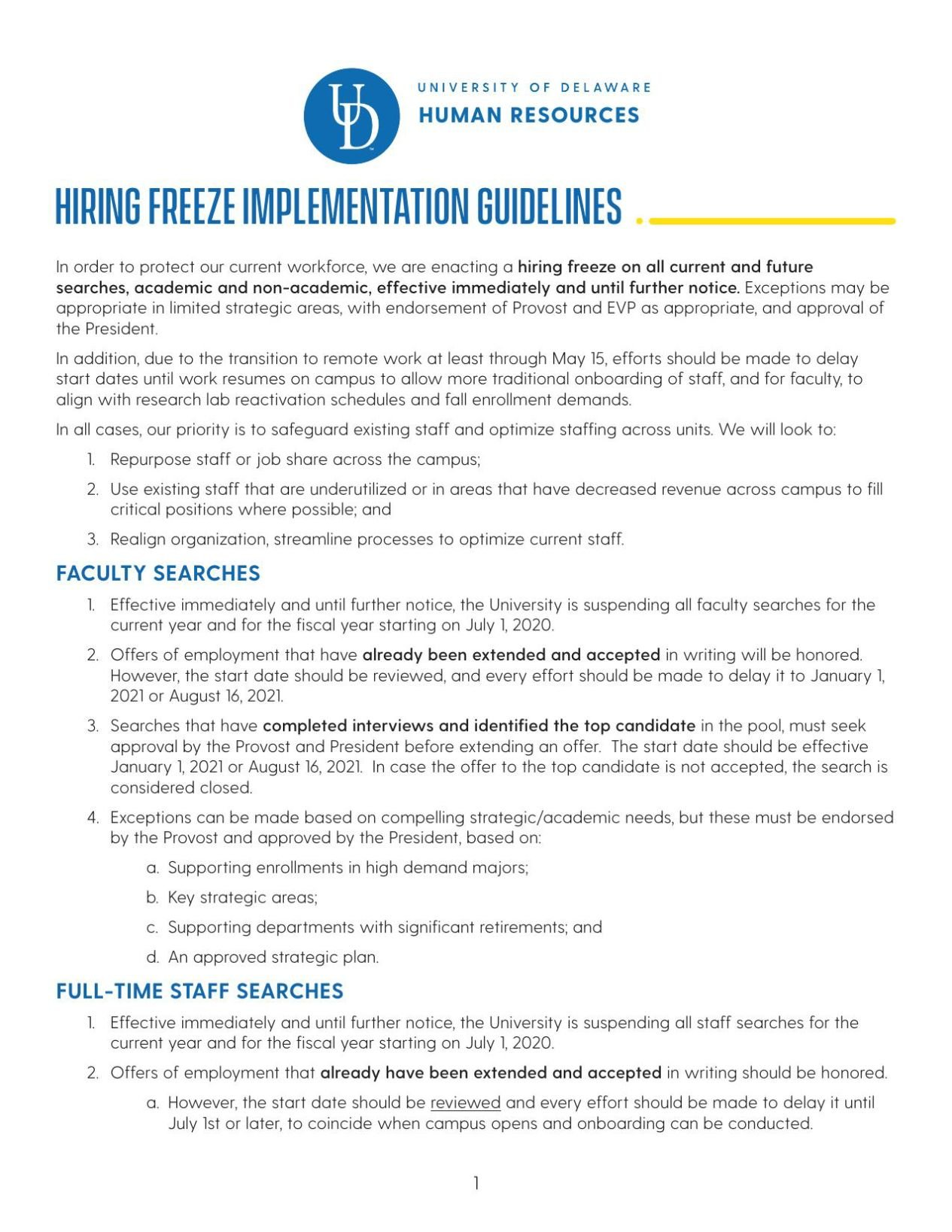University of Delaware Hiring Freeze