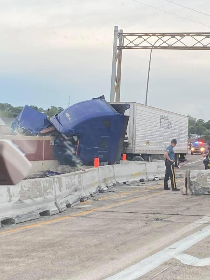 I-95 truck crash through viaduct wall