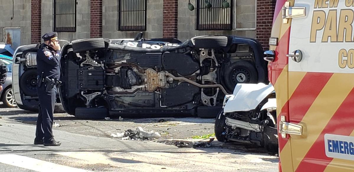 Overturned Wilmington police vehicle