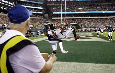 Ronald Darby knocks Julio Jones out of the end zone to clinch a victory