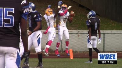 James Naylor and Jamir Dantley celebrate an A.I. duPont Touchdown