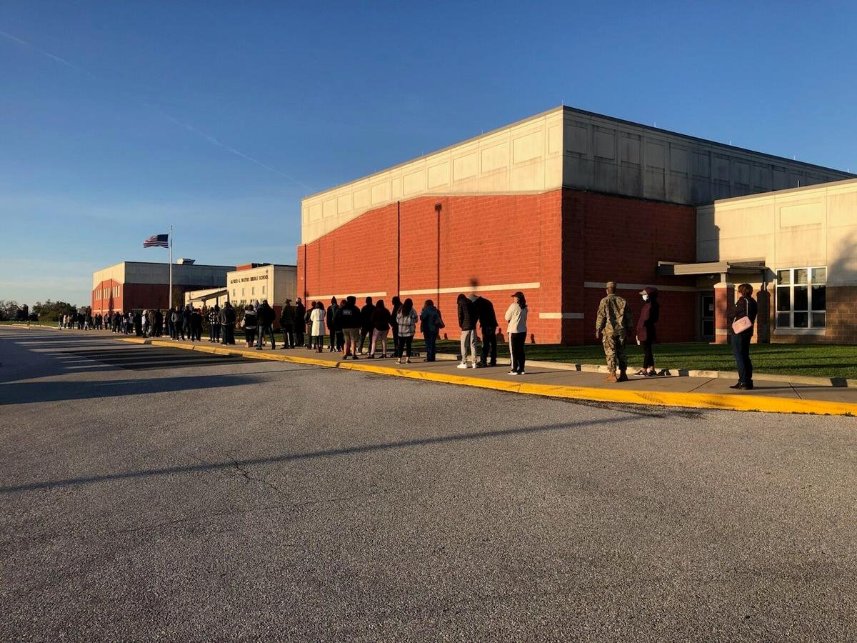 voter line at Middletown middle school