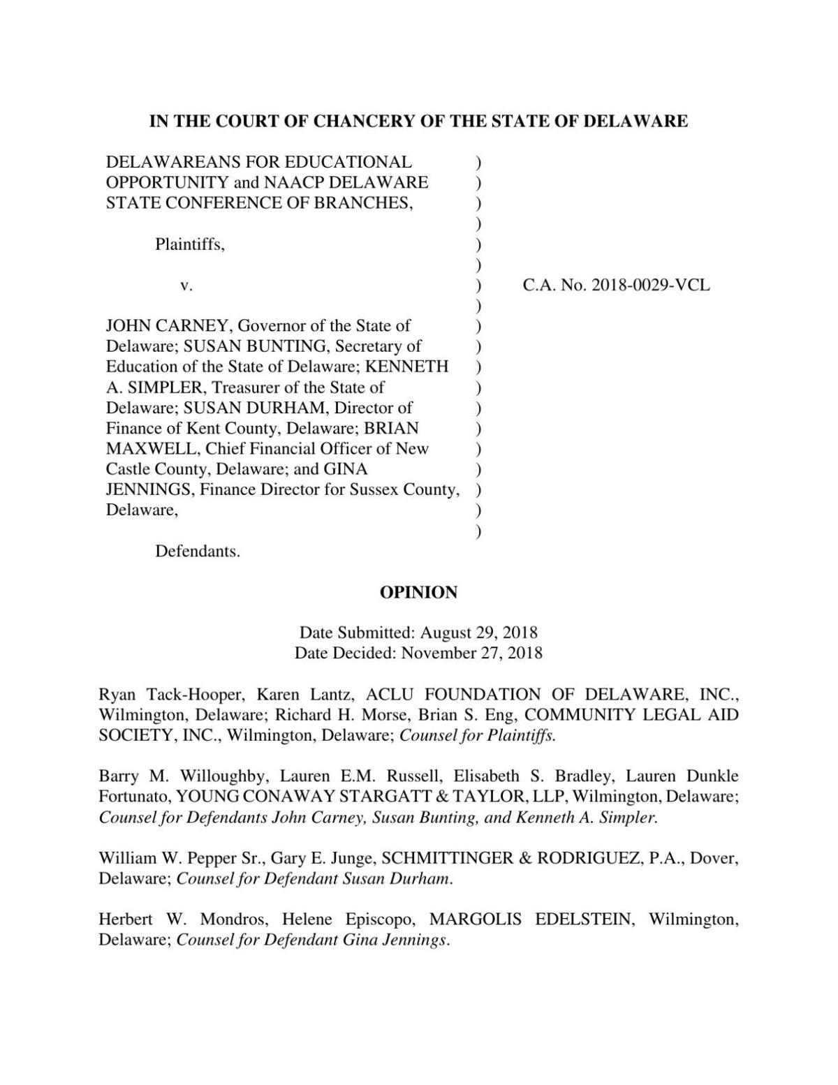 Chancery Court opinion Delawareans for Educational Opportunity vs. State et al