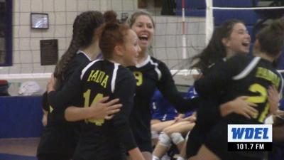 Padua celebrates winning a point against Wilmington Charter