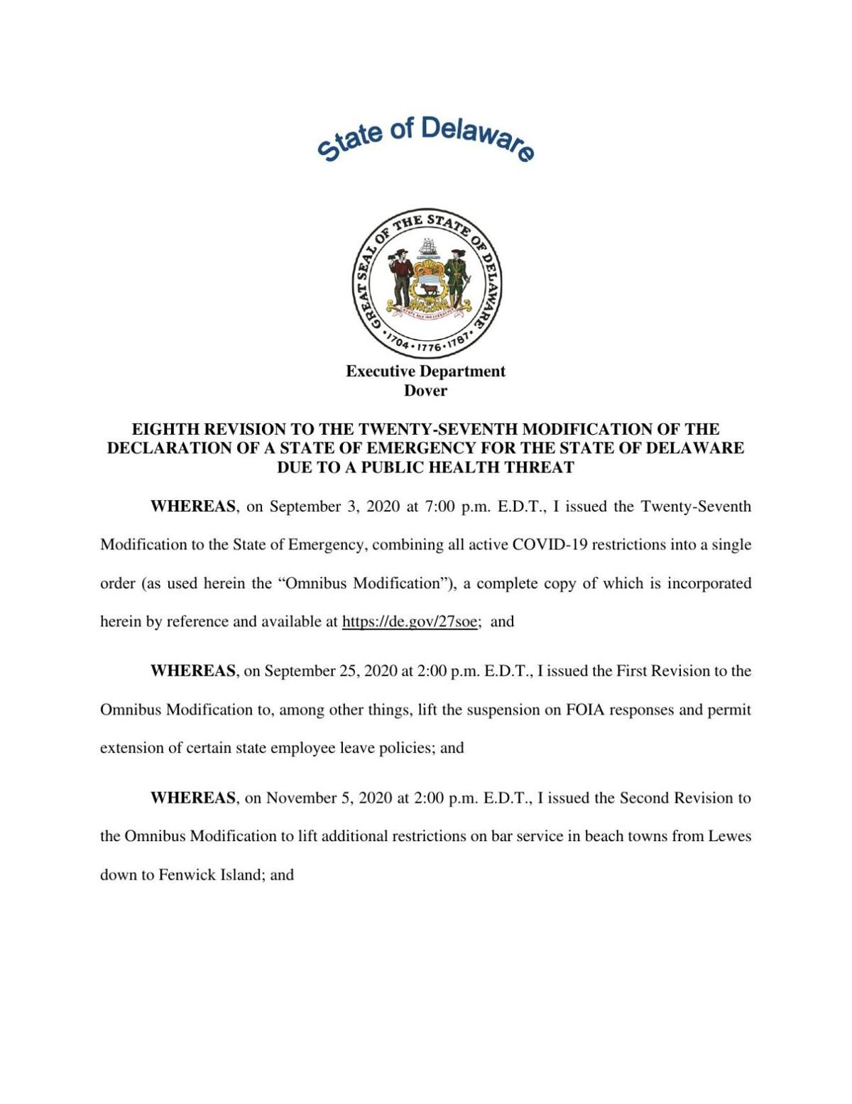 8th Revision to State of Emergency 032921