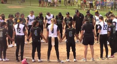 Delaware District 3 and Asia-Pacific come together after a 2018 Senior League Softball World Series game