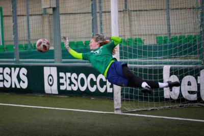 Emily Dolan makes a save during a training session for Real Betis