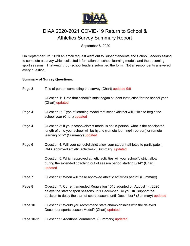 DIAA Survey - September 9, 2020
