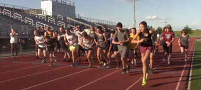 """Runners starting another hour of the 2018 """"One Mile Per Hour"""" at Appoquinimink High School"""
