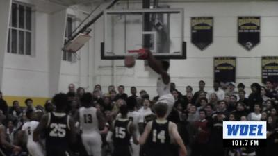 Sanford's Nnanna Njoku slams home two points against Salesianum