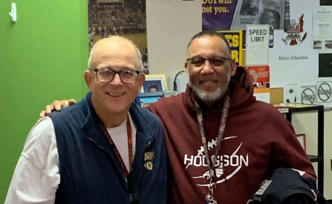 Larry Cylc (left) with Hodgson's Frank Moffett