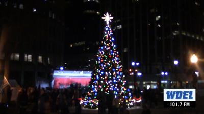 Wilmington's official Christmas Tree shining at H.B. DuPont Plaza