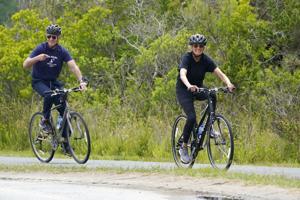 Bidens mark first lady's birthday with leisurely bike ride