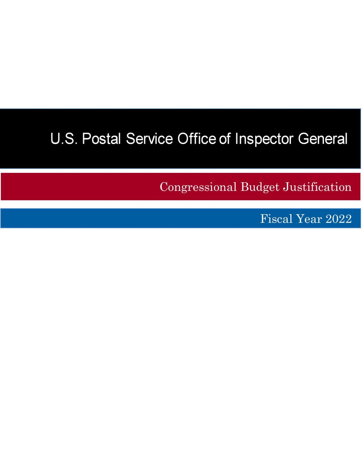 USPS FY22 Budget Request