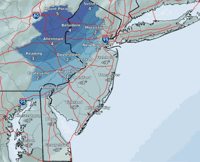 NWS Snow Map 1/15/20 PM