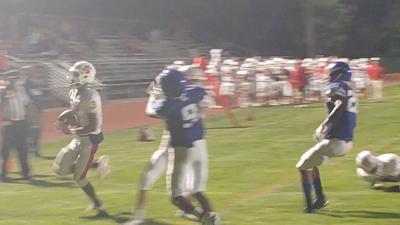 Laurel's Javier White rushes in a touchdown against Brandywine