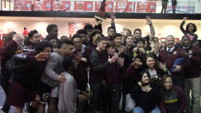 Milford wrestling celebrates the 2018 Division 2 Championship