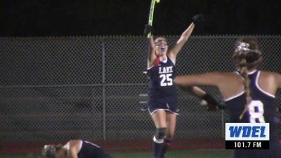 Lake Forest's Elle Wood celebrates the game-winning goal against Caravel