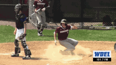 Concord's Adam Tommer looks back after scoring a run against A.I. duPont