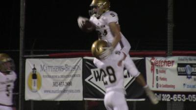 Salesianum's Kevin Faries celebrates after a punt return TD against Smyrna
