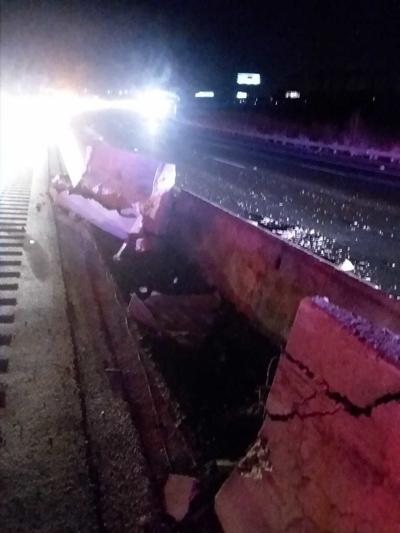 Interstate 95 Jersey Barrier Damage