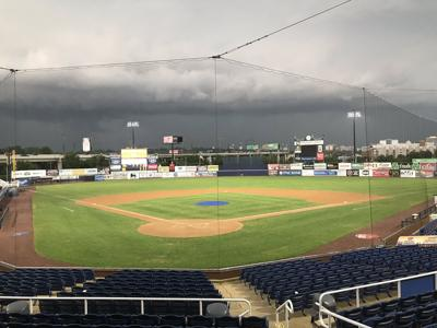 Frawley Stadium during a stormy evening in Wilmington