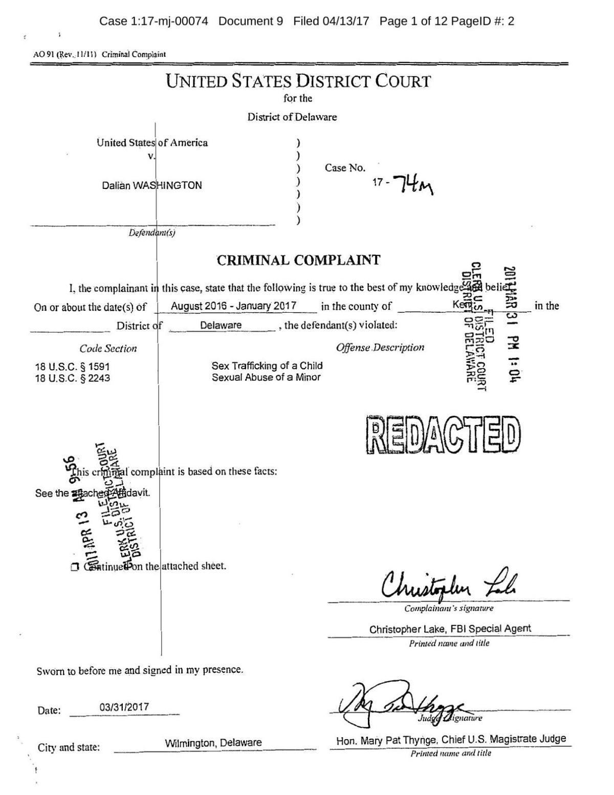 Washington Criminal Complaint | | wdel com
