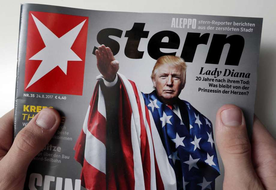 Depiction of Trump in American flag giving Nazi salute is disturbing