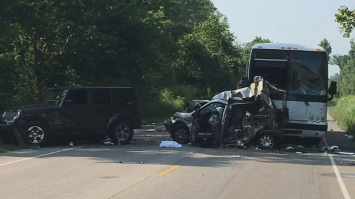 Scene of a July 2017 crash between a bus and a minivan that killed three people