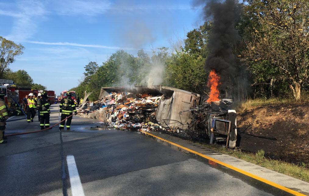Burning Garbage Truck on I-71N near Buckner