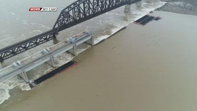 Sky Cam view of damaged coal barges