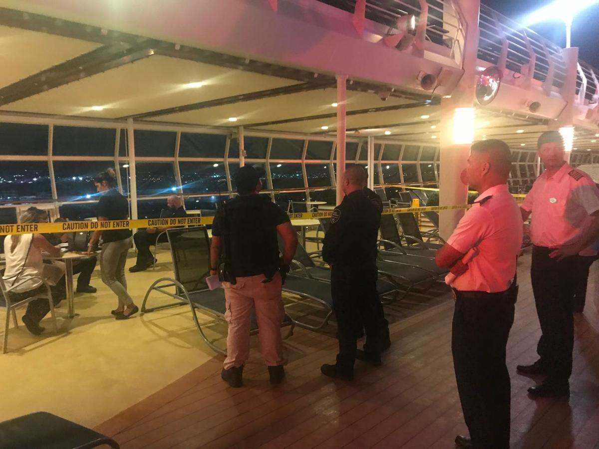Crime scene tape after 1-year-old Chloe Wiegand falls from cruise ship in July 2019