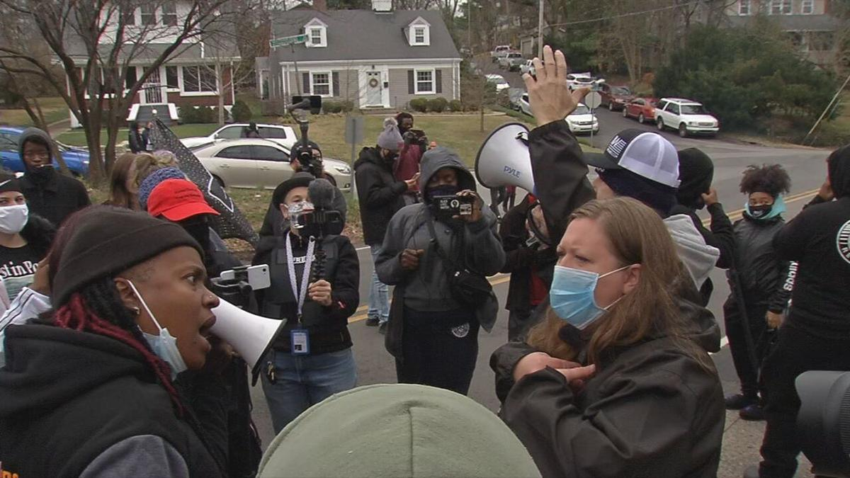 Protesters gather outside Mitch McConnell's home 1-02-21