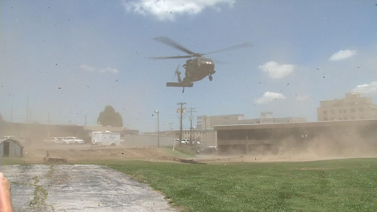 US Army Blackhawk helicopter lands at Hardin Memorial Health for drill
