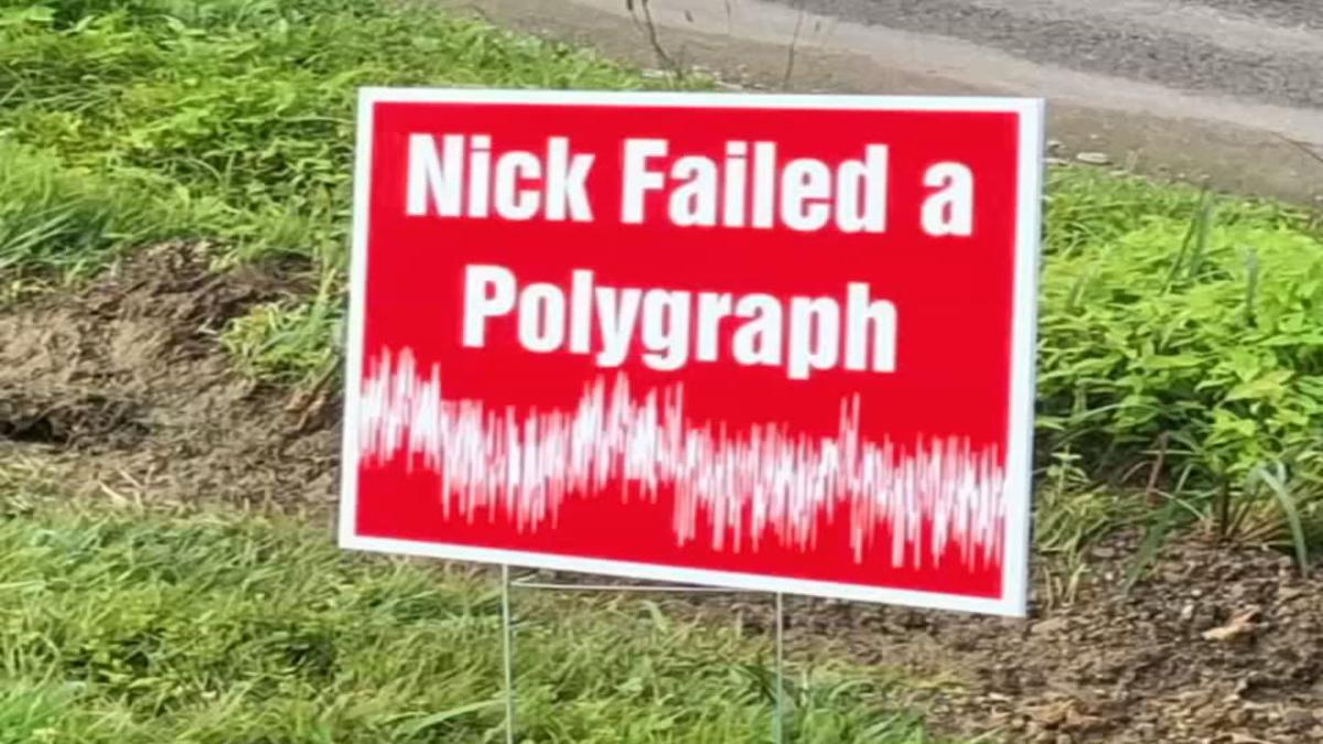 'Nick failed a polygraph' sign