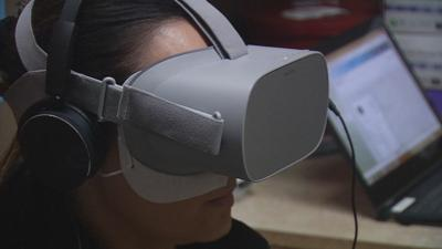 ProRehab patient wears virtual reality mask during session to help with pain