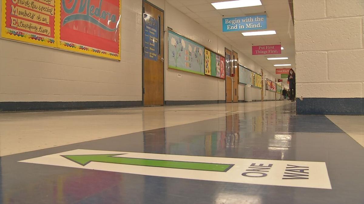 One Way arrow in school hallway