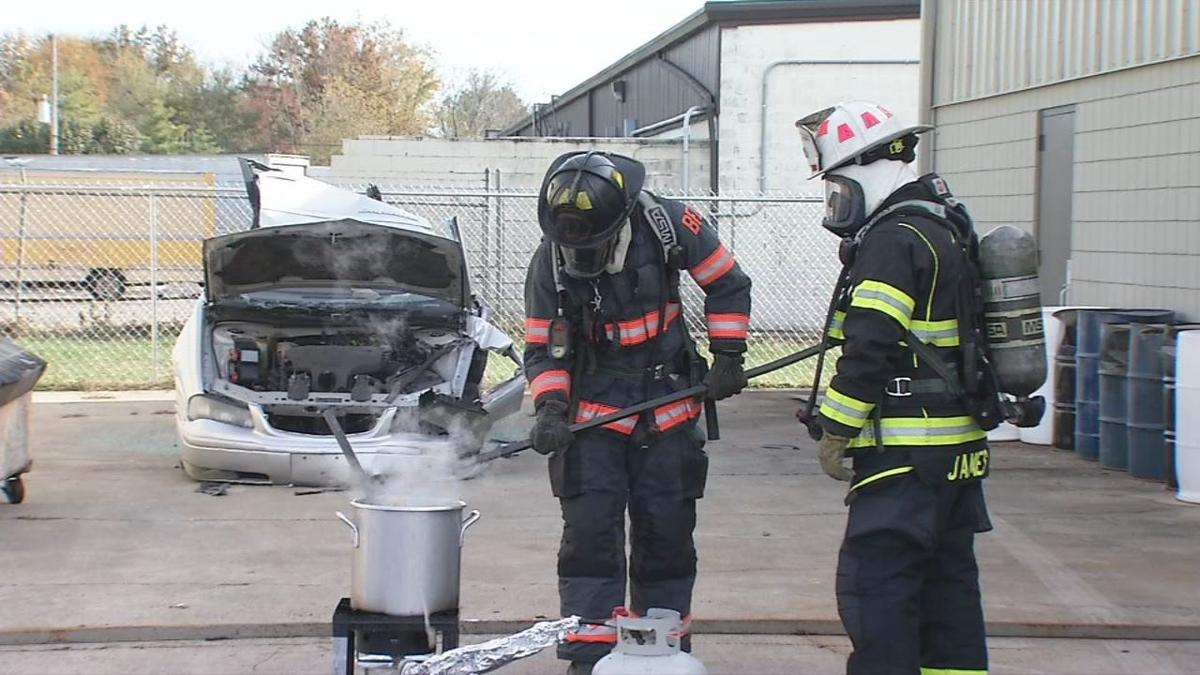 Local fire departments hold turkey fryer safety demonstration for upcoming holiday season