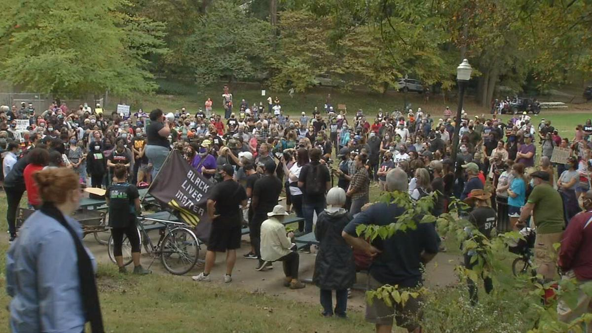 Crowd gathered at Tyler Park before march 10-10-20