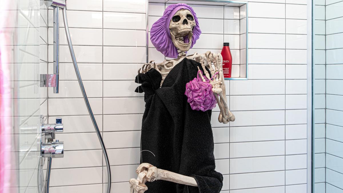 Skeleton in shower